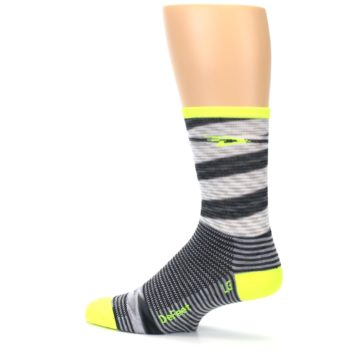 Image of Gray Neon Yellow Space-Dyed Stripe Men's Crew Athletic Socks (side-2-13)