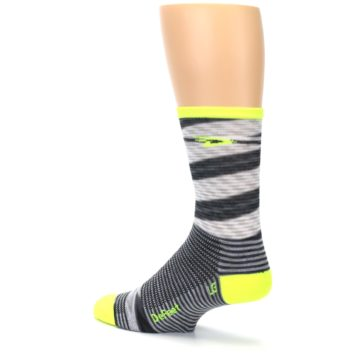 Image of Gray Neon Yellow Space-Dyed Stripe Men's Crew Athletic Socks (side-2-back-14)