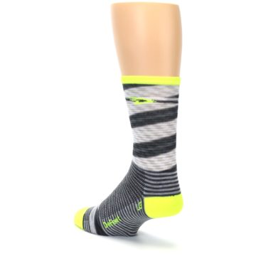 Image of Gray Neon Yellow Space-Dyed Stripe Men's Crew Athletic Socks (side-2-back-15)