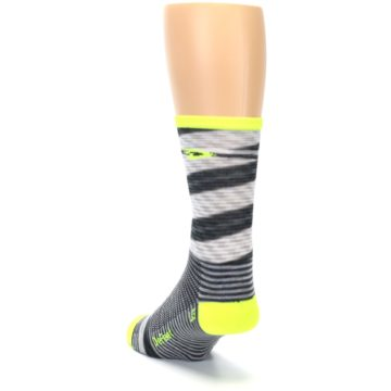 Image of Gray Neon Yellow Space-Dyed Stripe Men's Crew Athletic Socks (side-2-back-16)