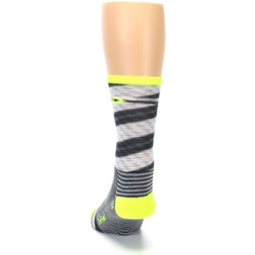 Image of Gray Neon Yellow Space-Dyed Stripe Men's Crew Athletic Socks (back-17)