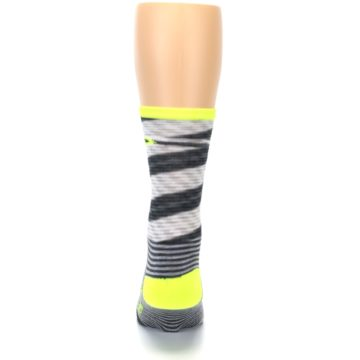 Image of Gray Neon Yellow Space-Dyed Stripe Men's Crew Athletic Socks (back-18)