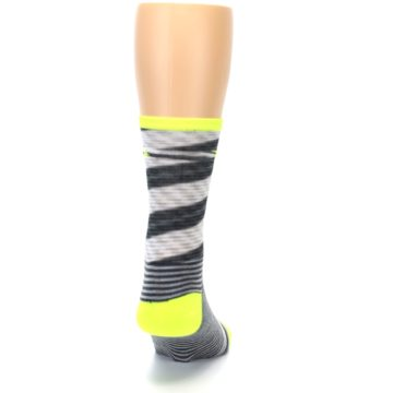 Image of Gray Neon Yellow Space-Dyed Stripe Men's Crew Athletic Socks (back-19)