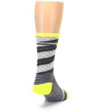 Image of Gray Neon Yellow Space-Dyed Stripe Men's Crew Athletic Socks (side-1-back-20)