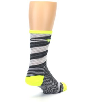 Image of Gray Neon Yellow Space-Dyed Stripe Men's Crew Athletic Socks (side-1-back-21)
