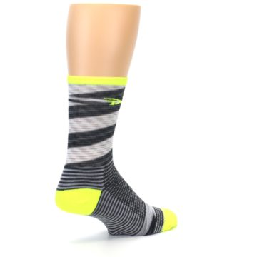 Image of Gray Neon Yellow Space-Dyed Stripe Men's Crew Athletic Socks (side-1-back-22)