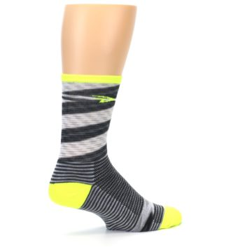 Image of Gray Neon Yellow Space-Dyed Stripe Men's Crew Athletic Socks (side-1-23)