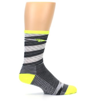 Image of Gray Neon Yellow Space-Dyed Stripe Men's Crew Athletic Socks (side-1-24)