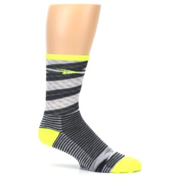 Image of Gray Neon Yellow Space-Dyed Stripe Men's Crew Athletic Socks (side-1-25)