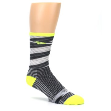 Image of Gray Neon Yellow Space-Dyed Stripe Men's Crew Athletic Socks (side-1-26)