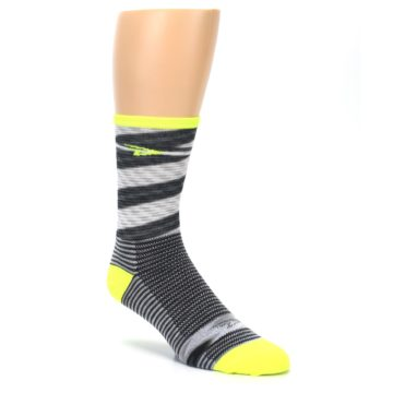Image of Gray Neon Yellow Space-Dyed Stripe Men's Crew Athletic Socks (side-1-27)