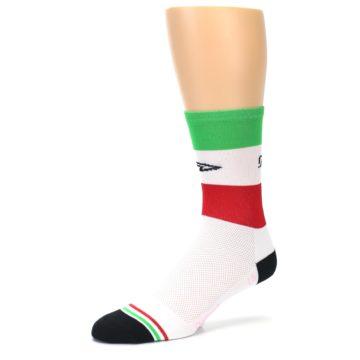 Image of White Italia Stripe Men's Crew Athletic Socks (side-2-09)
