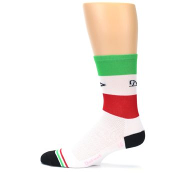 Image of White Italia Stripe Men's Crew Athletic Socks (side-2-12)