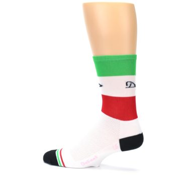 Image of White Italia Stripe Men's Crew Athletic Socks (side-2-13)