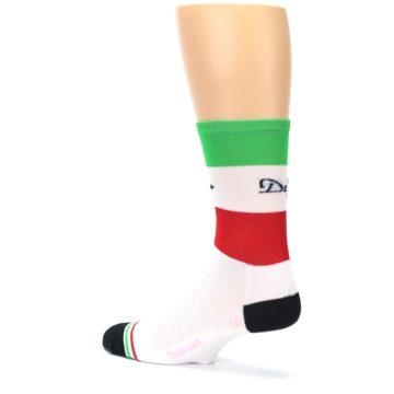 Image of White Italia Stripe Men's Crew Athletic Socks (side-2-back-14)