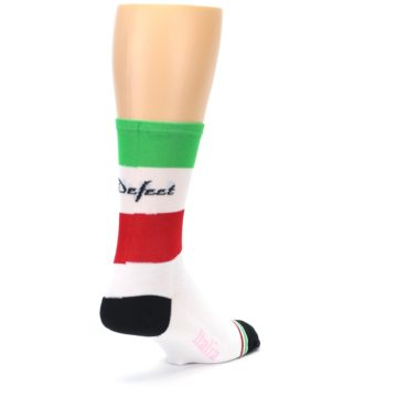 Image of White Italia Stripe Men's Crew Athletic Socks (side-1-back-21)