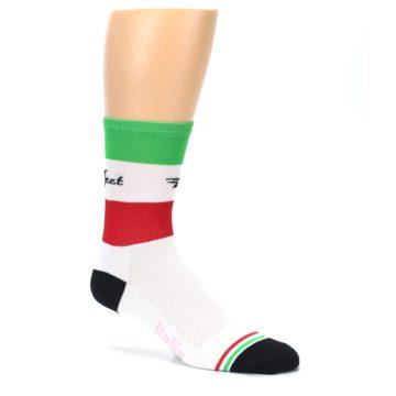 Image of White Italia Stripe Men's Crew Athletic Socks (side-1-26)