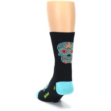 Image of Black Blue Sugar Skull Men's Crew Athletic Socks (side-2-back-16)