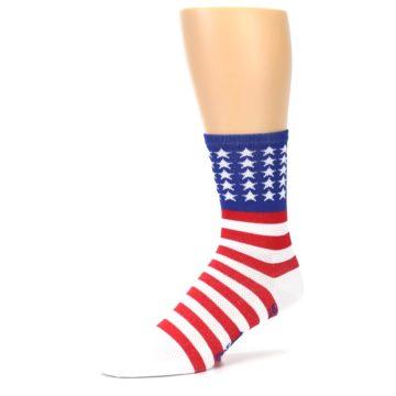 Image of Red White Blue American Flag Men's Crew Athletic Socks (side-2-09)