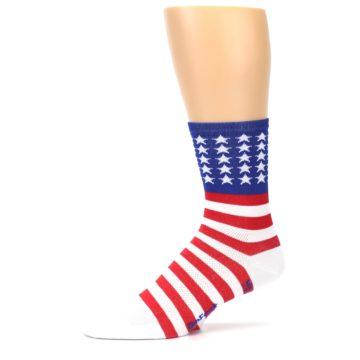 Image of Red White Blue American Flag Men's Crew Athletic Socks (side-2-10)