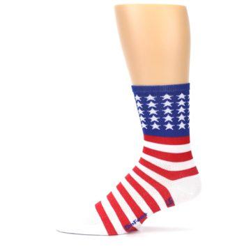 Image of Red White Blue American Flag Men's Crew Athletic Socks (side-2-11)