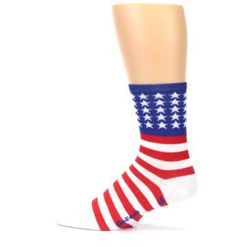 Image of Red White Blue American Flag Men's Crew Athletic Socks (side-2-12)