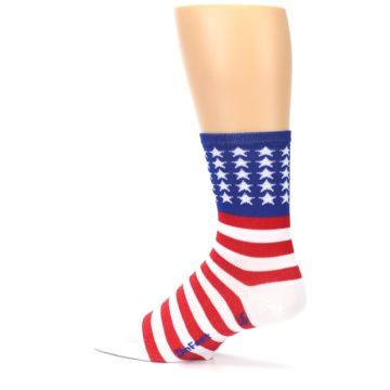 Image of Red White Blue American Flag Men's Crew Athletic Socks (side-2-13)