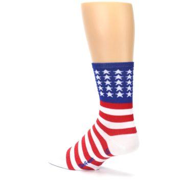 Image of Red White Blue American Flag Men's Crew Athletic Socks (side-2-back-14)