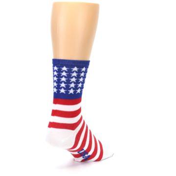 Image of Red White Blue American Flag Men's Crew Athletic Socks (side-1-back-21)