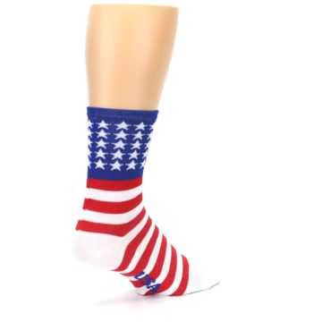 Image of Red White Blue American Flag Men's Crew Athletic Socks (side-1-back-22)