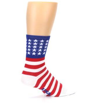 Image of Red White Blue American Flag Men's Crew Athletic Socks (side-1-23)