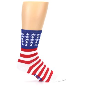 Image of Red White Blue American Flag Men's Crew Athletic Socks (side-1-24)