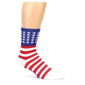Image of Red White Blue American Flag Men's Crew Athletic Socks (side-1-25)