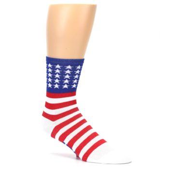 Image of Red White Blue American Flag Men's Crew Athletic Socks (side-1-26)