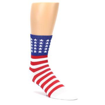 Image of Red White Blue American Flag Men's Crew Athletic Socks (side-1-27)