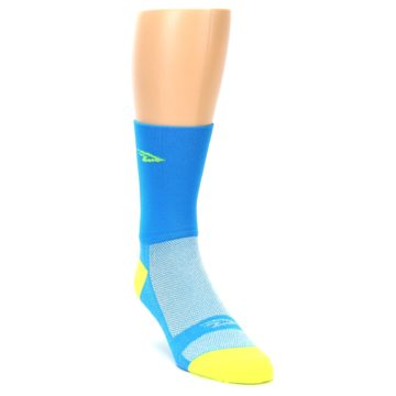 Image of Blue Solid Men's Crew Athletic Socks (side-1-front-02)