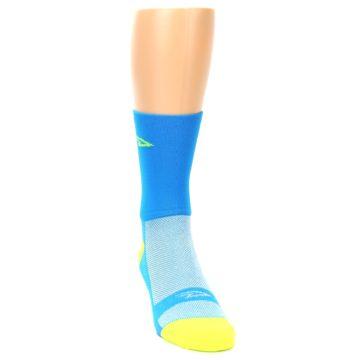 Image of Blue Solid Men's Crew Athletic Socks (side-1-front-03)