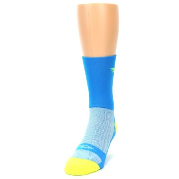 Image of Blue Solid Men's Crew Athletic Socks (side-2-front-06)