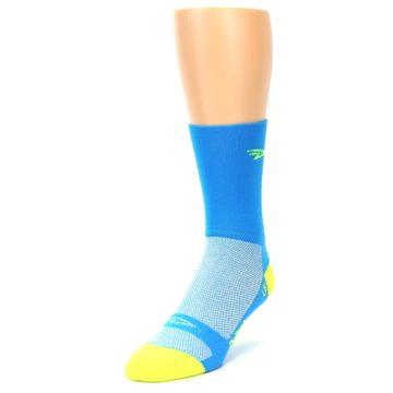 Image of Blue Solid Men's Crew Athletic Socks (side-2-front-07)