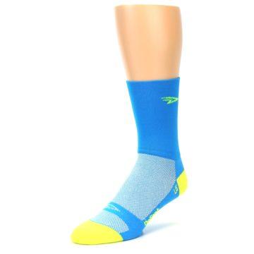 Image of Blue Solid Men's Crew Athletic Socks (side-2-front-08)