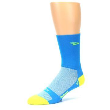Image of Blue Solid Men's Crew Athletic Socks (side-2-09)