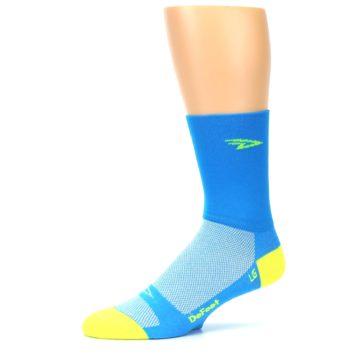Image of Blue Solid Men's Crew Athletic Socks (side-2-10)