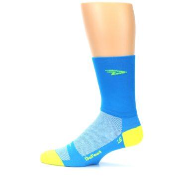 Image of Blue Solid Men's Crew Athletic Socks (side-2-12)