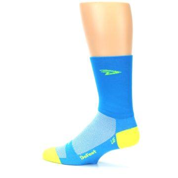 Image of Blue Solid Men's Crew Athletic Socks (side-2-13)