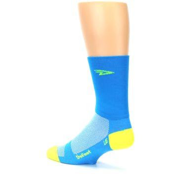 Image of Blue Solid Men's Crew Athletic Socks (side-2-back-14)