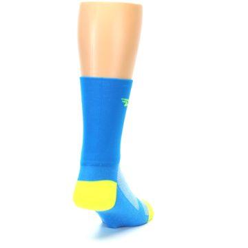 Image of Blue Solid Men's Crew Athletic Socks (side-1-back-20)