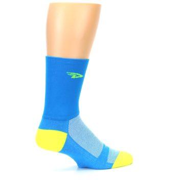 Image of Blue Solid Men's Crew Athletic Socks (side-1-23)