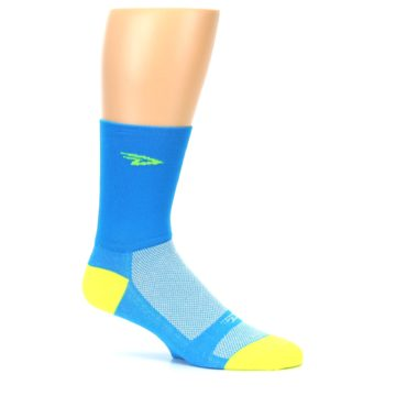 Image of Blue Solid Men's Crew Athletic Socks (side-1-25)