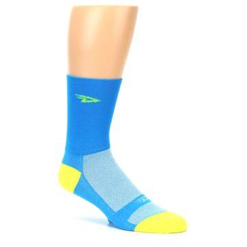Image of Blue Solid Men's Crew Athletic Socks (side-1-26)