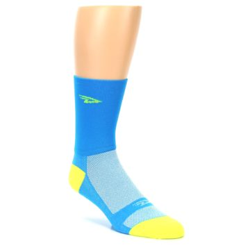 Image of Blue Solid Men's Crew Athletic Socks (side-1-27)
